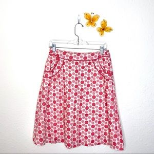 Boden Pink Polka Dot Linen Fit n Flare Skirt